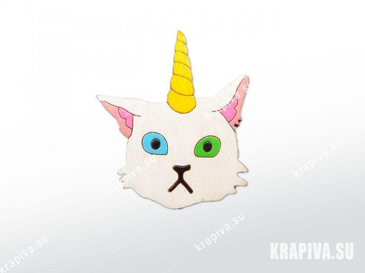 Кот единорог  значок, значки, брошь, деревянный значок, значок из дерева, деревянная брошь, ручная работа, кот, единорог handmade, brooch, pin, cat, unicorn