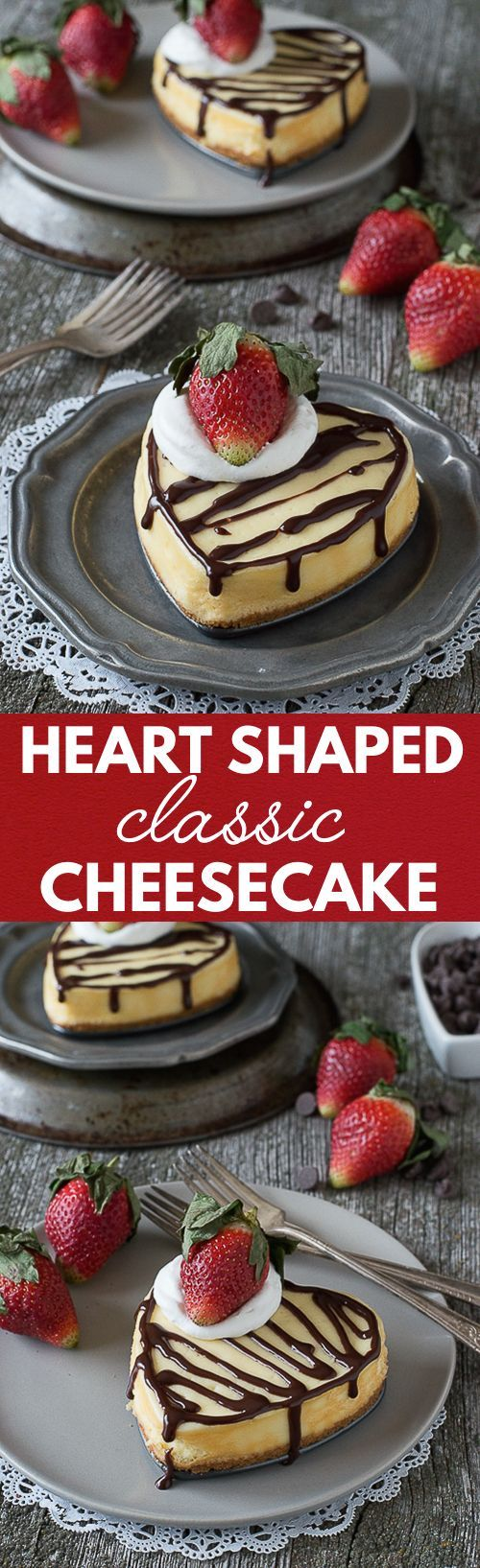 Heart Shaped Classic Cheesecake - a classic cheesecake recipe perfect for Valentine's Day!