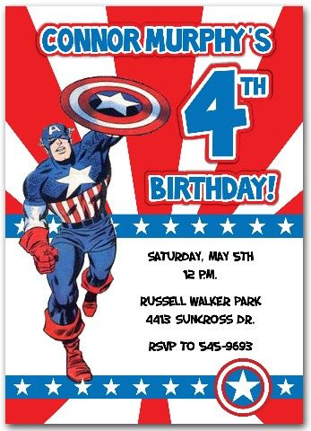 Image for Captain America Birthday Invitations Printable