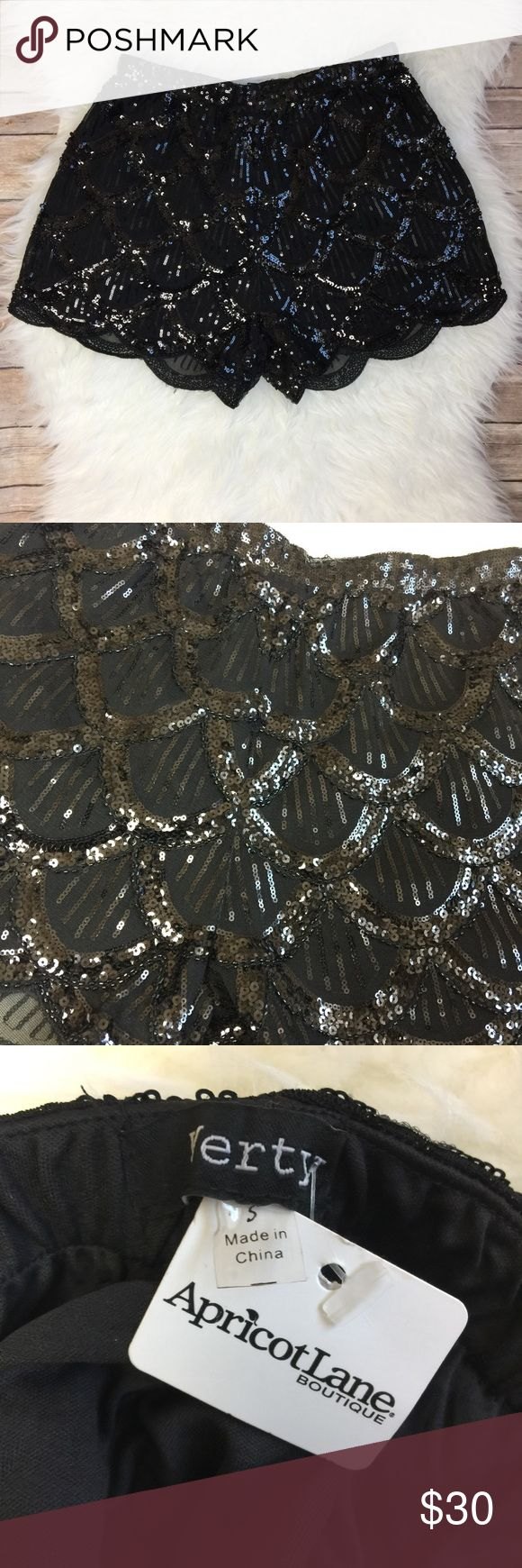 """Apricot Lane Black Sequins Shorts Apricot Lane Black Sequins Shorts. Size Small NWT 100% Polyester. Approximate measurements laying flat: 13"""" waistband 12.5"""" length 12"""" rise 2.5"""" inseam. No trades Offers Welcomed. Apricot Lane Boutique Shorts"""