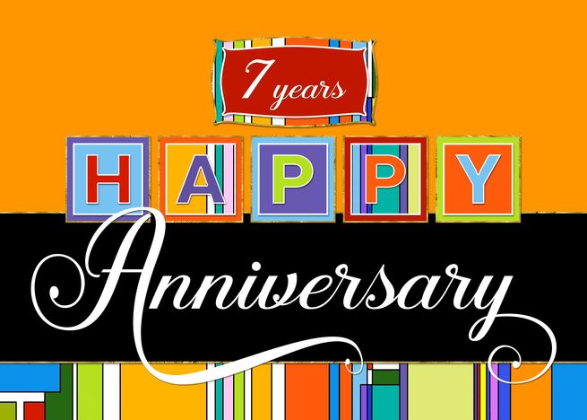 Employee Anniversary 7 Year Bold Colors Happy Anniversary Card Ad Ad Year Anniver Anniversary Cards Happy Anniversary Cards Birthday Cards For Mother
