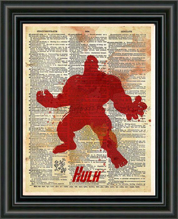 Hulk superhero art The avengers art  splatter art book by Loft817, $7.99