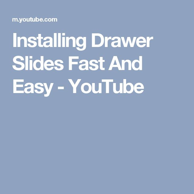 Installing Drawer Slides Fast And Easy - YouTube