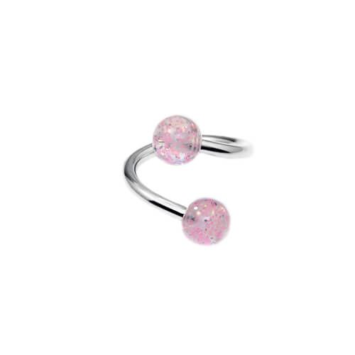 Twister Ring with Pink Glitter Balls - Pierce of Mind