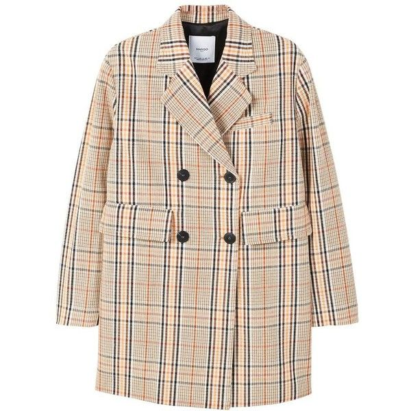 Double-Breasted Check Coat (€110) ❤ liked on Polyvore featuring outerwear, coats, quilted coat, double breasted coat, button coat, pink double breasted coat and mango coats
