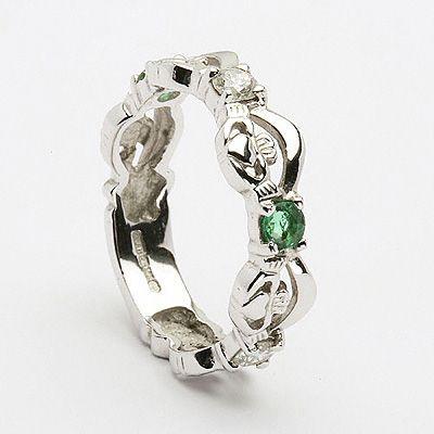 Lovely Unique wedding rings and mitment rings Genuine Irish Four Stone Emerald u Diamond Claddagh
