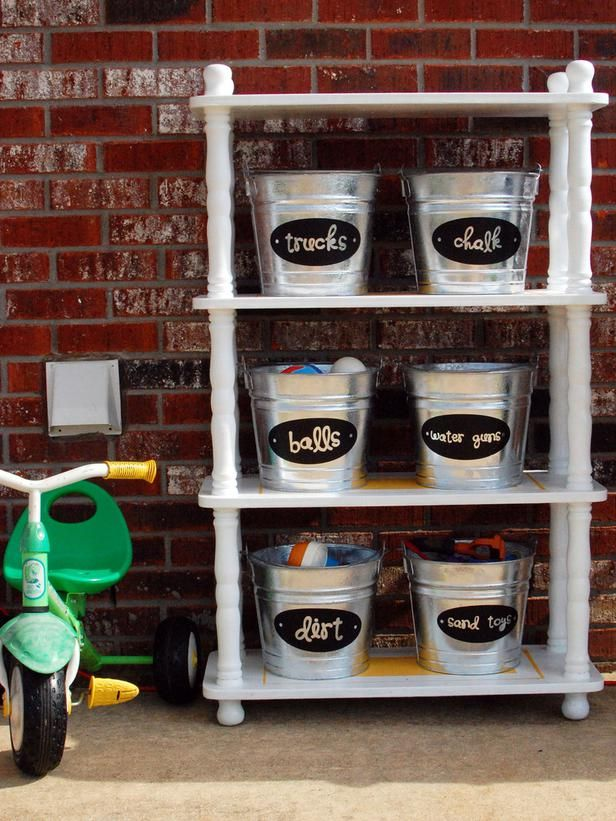 Label buckets or bins to help keep kid clutter in check.: Outdoor Storage, Organizations Ideas, Buckets, Outdoor Kids, Toys Organizations, Garage, Outdoor Toys Storage, Storage Ideas, Kids Toys