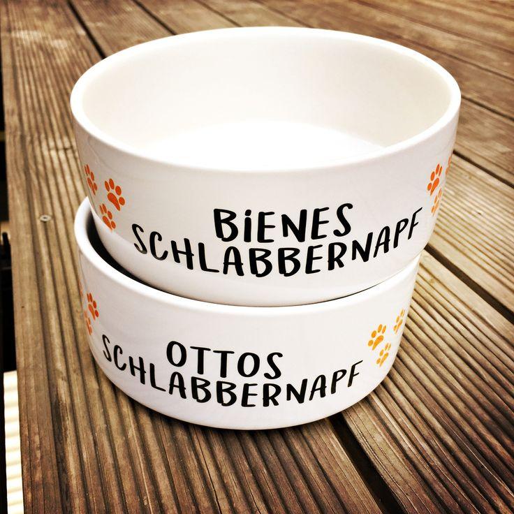 Keramik FUTTERNAPF mit Schriftzug SCHLABBERNAPF und Namen deines Hundes #futternapf #hundenapf #keramiknapf #fressnapf #schlabbernapf #personalisiert