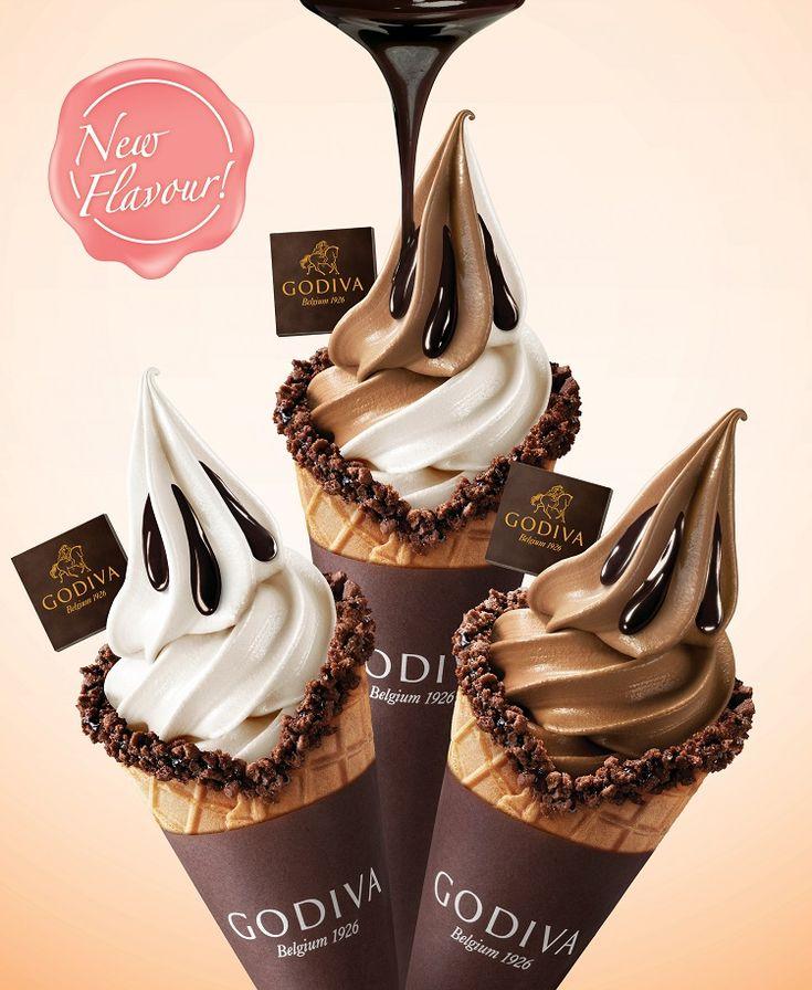Godiva's Soft-Serve Ice Cream! From L-R: White Chocolate Vanilla Bean, Swirl and Dark Chocolate