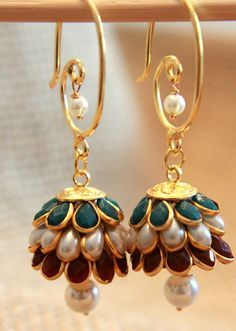 Dangler Earrings Jhumkas by shopAraish on Etsy