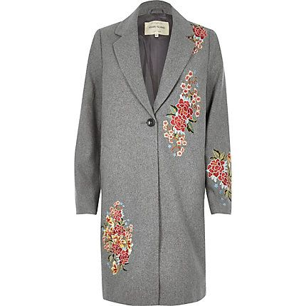 Grey floral embroidered overcoat £95.00