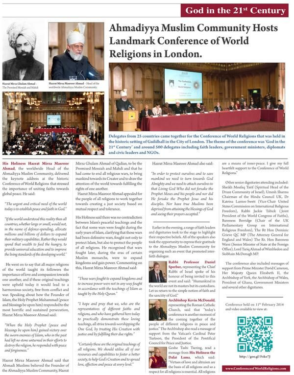 The Times of Thursday 6th March on the Conference of World Religions. #CoWR #Islam #Ahmadiyya #World #Peace