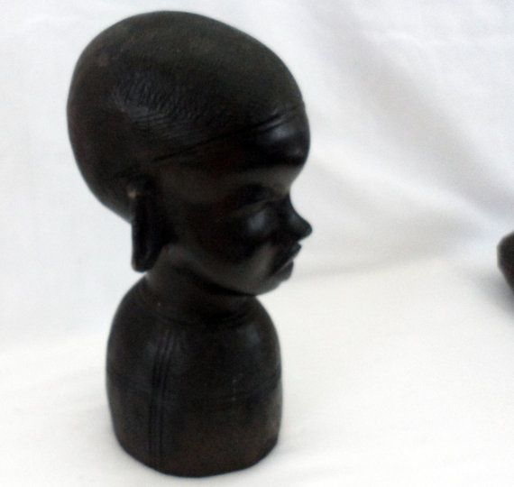 AFRICAN BLACK EBONY Beautiful Hand Carved Tribal Female Bust / From Former German East Africa now Tanzania / Extremely Heavy Wood Carving