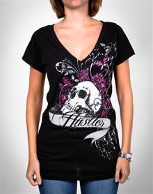 Hustler 'Skull Candy' Slasher-Back Junior Fitted Tee T-Shirt, Slasher Back Junior, Skull Candies,  Tees Shirts, Slasherback Junior, Cotton Br, Fit Tees, Junior Fit, Hustler Skull