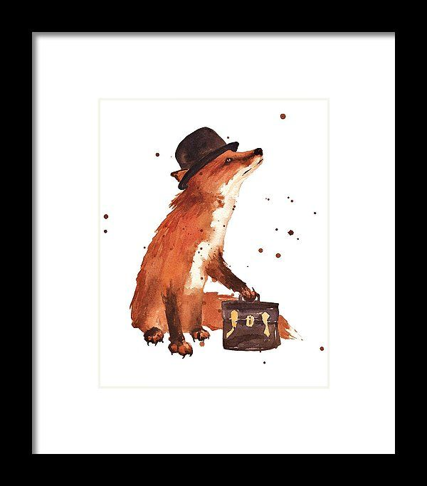 Fox Framed Print featuring the painting Downtown Fox by Alison Fennell