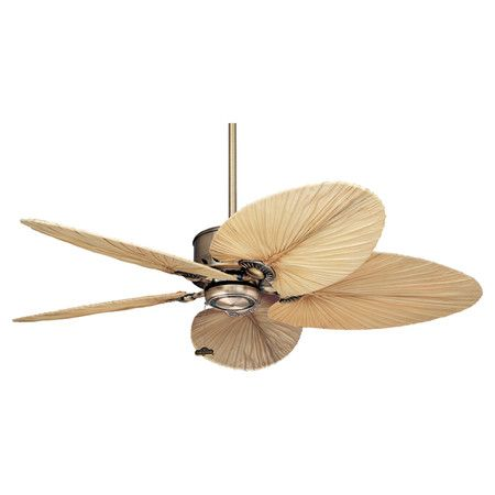 Add A Tropical Touch To Your Lanai Or Living Room With This Eye Catching Ceiling Fan Showcasing Natural Palm Leaf Blades And An Antique Brass Finish
