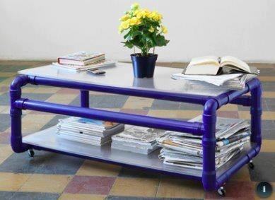 PVC pipe coffee table                                                                                                                                                      Mais
