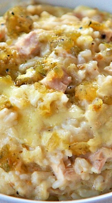 Salsa Verde Chicken & Rice Bake
