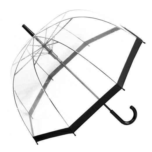Regenschirm Transparent / Durchsichtig Glockenschirm Automatik schwarzer Rand…