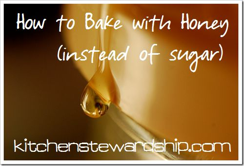 Baking with Honey You can substitute honey for sugar in most baking recipes, but be sure to take the following steps:   Use 1/2 – 3/4 cup of honey for each one cup of sugar in the recipe. Reduce the liquid by 1/4 cup for each cup of sugar replaced. Reduce cooking temp by 25 degrees (honey will make your baked goods brown more easily). If the recipe doesn't already include baking soda, add 1/4 tsp for each cup of sugar replaced.