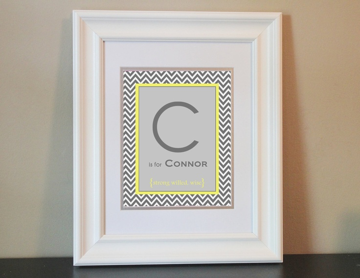 Chevron Baby Nursery Name Art Boy (Gray & Yellow)- 8x10 Personalized Digital Print- Printable. $14.00, via Etsy.