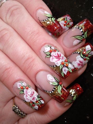 Red And Gold Nail Art Red n gold. view larger photo