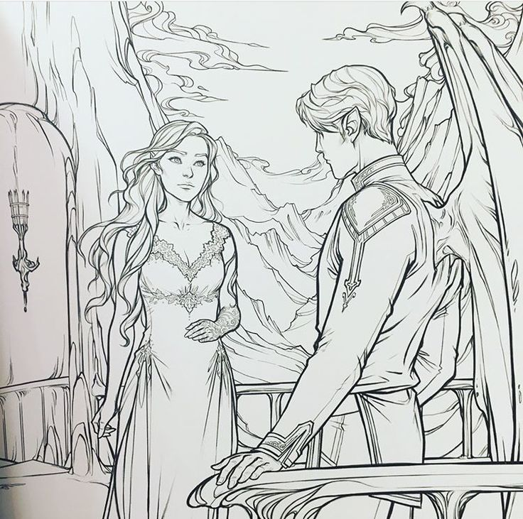 Could be the end of ACOTAR *When Rhys flew away because he realized something. ACOMAF coloring book ACOWAR Sarah J. Maas Charlie Bowater