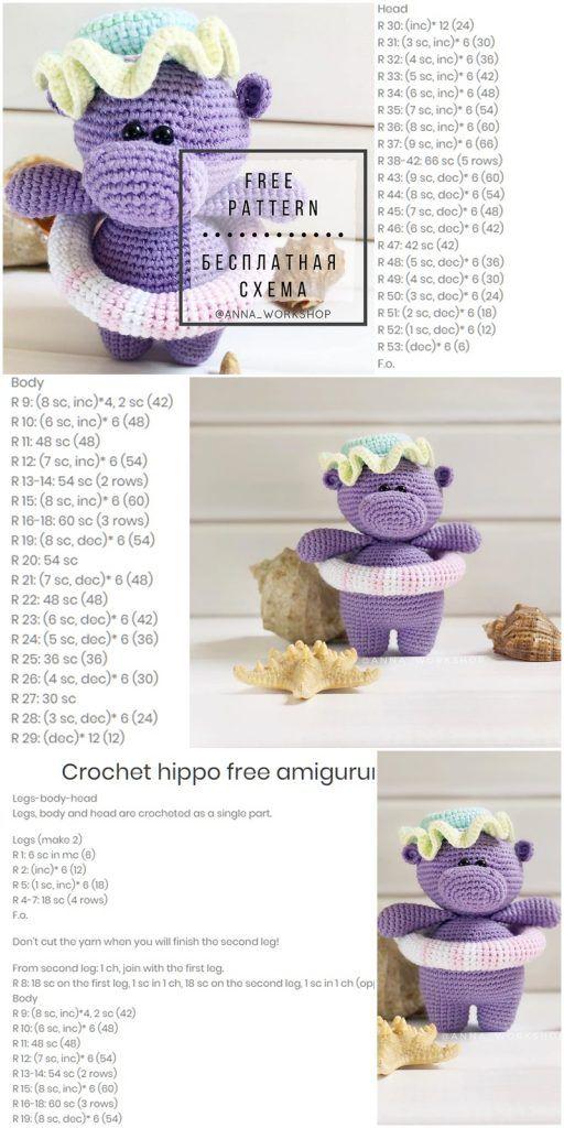 Amigurumi Swimming hippo Free Crochet Pattern – Amigurumi Crochet