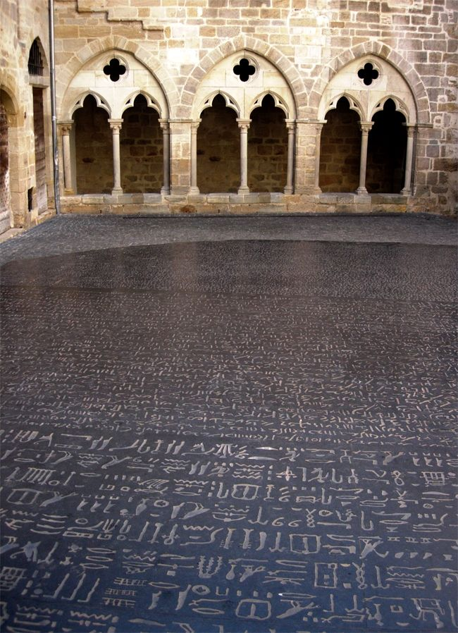 A giant copy of the #RosettaStone by #JosephKosuth in #Figeac, #France