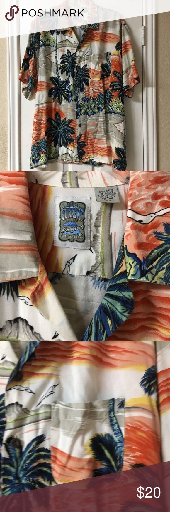 Vintage Ocean Current Hawaiian Button Down Shirt Amazing, Vintage Ocean Current Hawaiian Button Down Shirt. Good condition. 100% Rayon. Cream background with orange, yellow, greys and greens. Beautiful print of the tropics. One front pocket. Retro, vacation, summer, beach, playa, spring. Ocean Current Shirts Casual Button Down Shirts