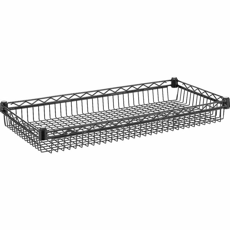 "Metro DD3448A 14"" x 36"" Super Erecta Black Wire Basket Shelf - 400 lb. Capacity"