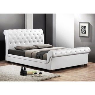 Shop for Baxton Studio Leighlin White Modern Sleigh Bed with Upholstered Headboard - Full Size. Get free shipping at Overstock.com - Your Online Furniture Outlet Store! Get 5% in rewards with Club O! - 15916676