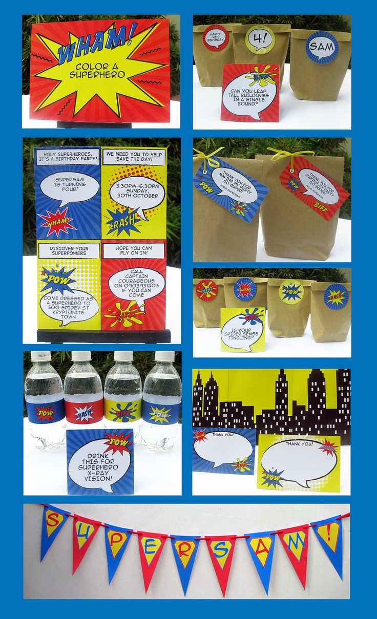 Superhero Birthday Party Invitation & Printable Party Collection, EDITABLE Text PDF file - you personalize at home with Adobe Reader. $14.95, via Etsy.