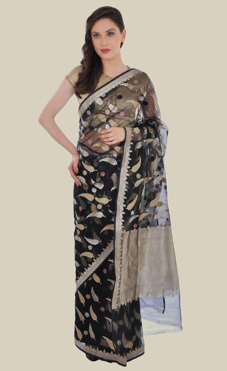 Black Banarasi Zari Handwoven Pure Silk Net Saree