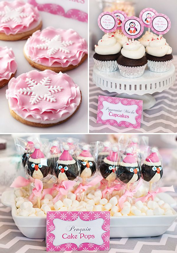 Cozy Pink Penguin Winter Wonderland Baby Shower