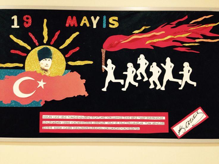 19 Mayıs Atatürk'ü Anma Gençlik ve Spor Bayramı panosu