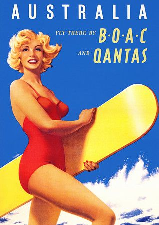Vintage Poster - Australia BOAC Qantas Travel - Beach - Surfing