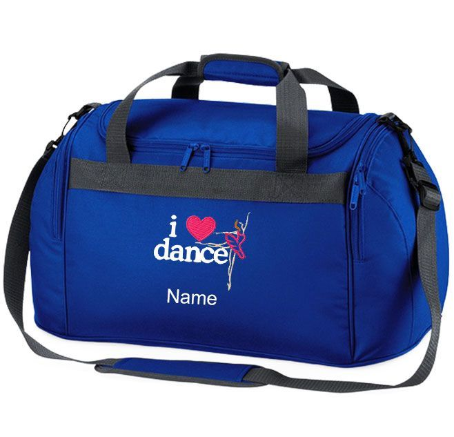 Buy This Personalised Holdall Bag Embroidered To Order With The I LOVE DANCE Ballerina Logo And
