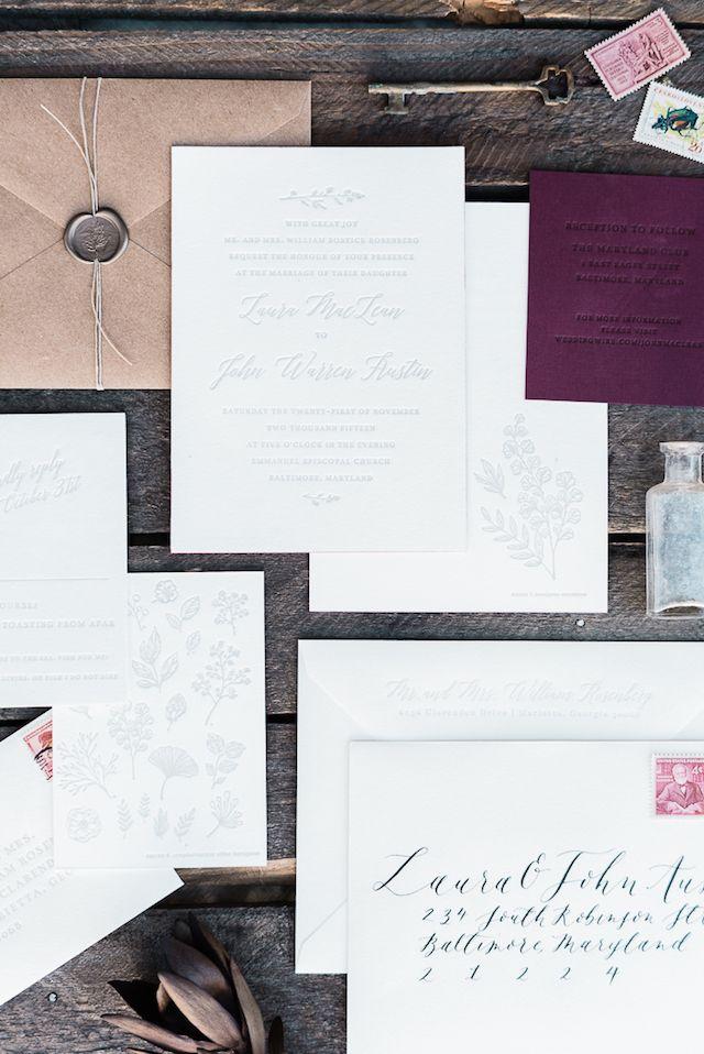 handwrite or print wedding invitation envelopes%0A Romantic Botanical Winter Wedding Invitations