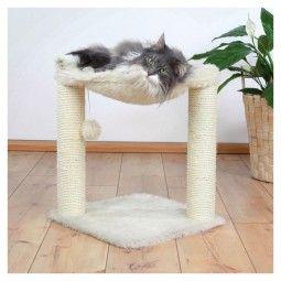 Hochwertiger, stabiler Katzen-Kratzbaum mit extra kuscheligem Langhaar-Plüsch. Mit bequemer Liegemulde, zwei Sisal-Stämmen und Plüschball an Gummiband.
