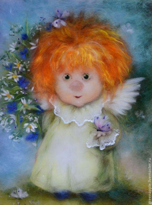 """Фэнтези ручной работы. Ярмарка Мастеров - ручная работа. Купить """" Ангел с бабочкой"""". Handmade. Комбинированный, живопись шерстью, ангел"""