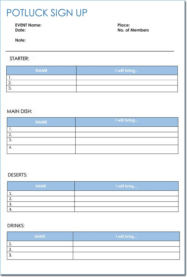 Signup Sheet Templates 40 Sheets Templates Printable