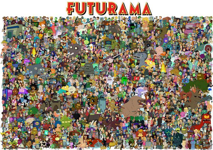 Все герои Futurama на одном рисунке