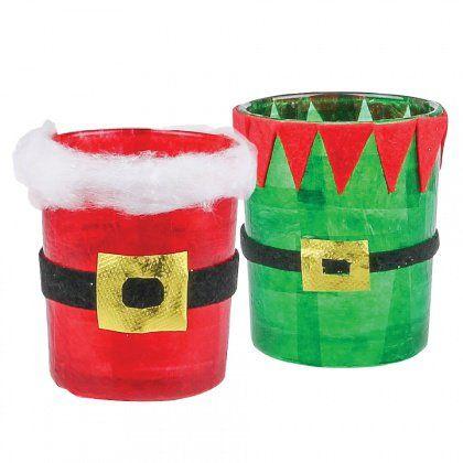 santa and elf christmas tea light holders a cute little craft idea for the holidays - Christmas Light Holders