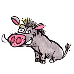 Max is slightly crazy (he's got those wild eyes). Always up for a dare, he's Peanuts right-hand warthog and is never far from trouble.