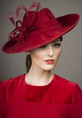 Rachel Trevor Morgan, A/W 2013 - Red velour felt trilby with curled feather spray.
