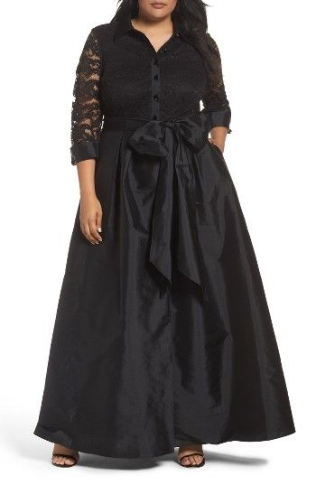 Illusion Lace & Taffeta Gown (Plus Size) at Nordstrom.com. Bewitching black lace covers the button-front bodice of an event-ready gown shaped with a voluminous taffeta skirt and wrapped at the waist with a gorgeous ribbon tie.