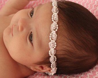 Baptism Headpiece White Headband Lace Headband by AllBabyGirls