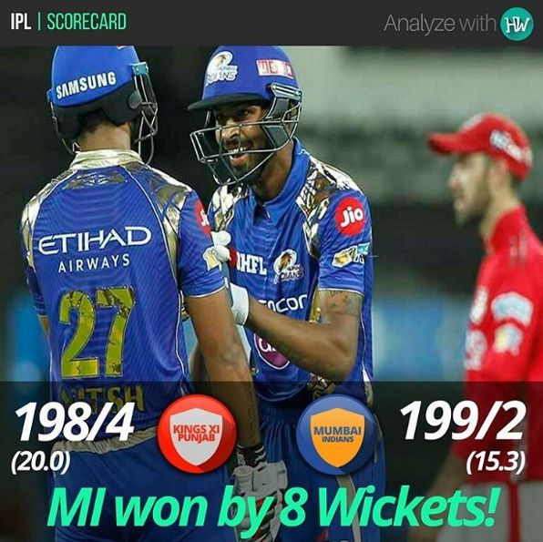 The Mumbai Indians batsmen completely dominated the bowlers to chase the total comfortably! #MI #KXIP #MIvKXIP #IPL #IPL2017 #IPL10 #cricket