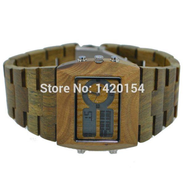 Mens Analoge Digital Brown Quartz Watch Famous Brand Bewell Wood Watch